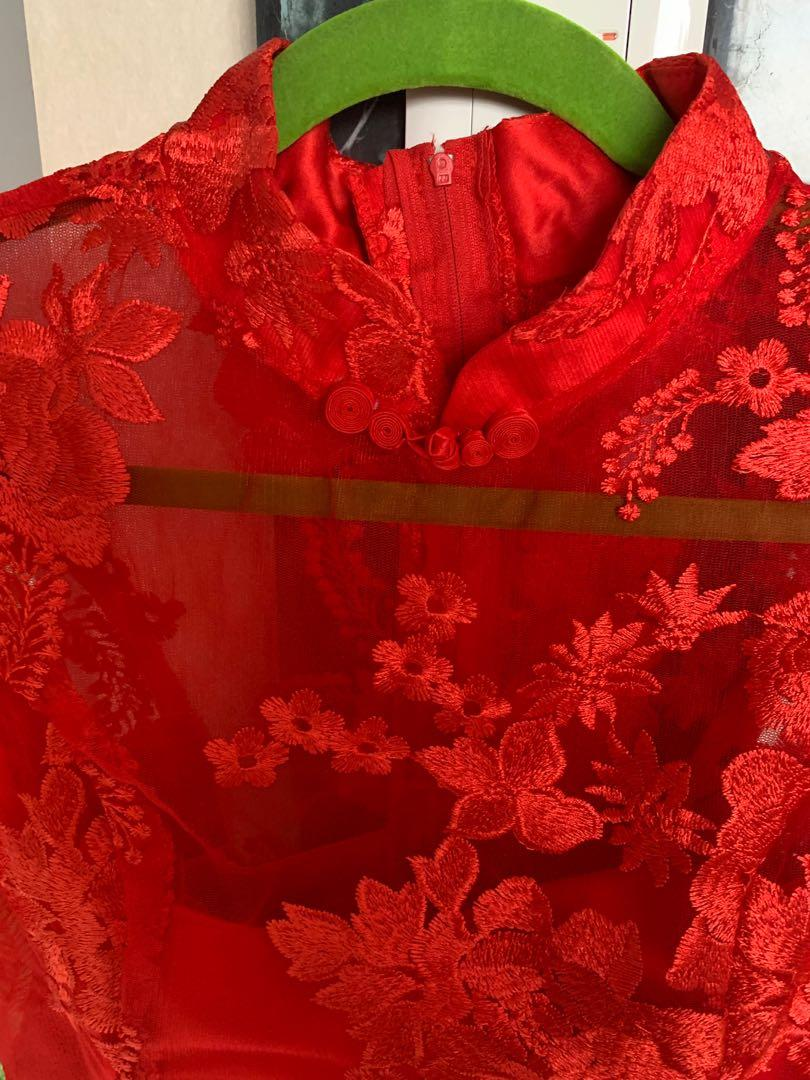 CNY Dress Getai dress Large size red dress cheongsam performance singer dress