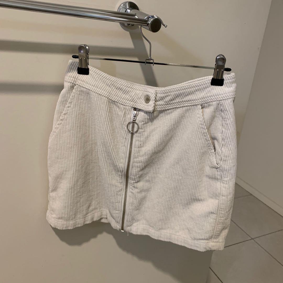 Cream glassine high waisted skirt