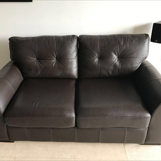 Full Grain Leather Sofa Bed Brown