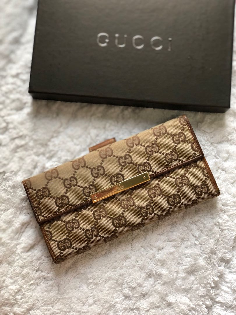 2360253f79d9 Gucci GG Monogram Canvas Leather Long Wallet, Luxury, Bags & Wallets ...