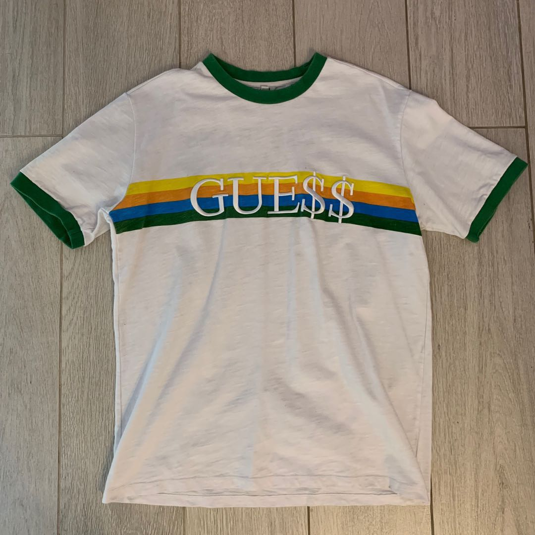 d6689f3353f3 GUESS X A$AP ROCKY ringer tee, Men's Fashion, Clothes, Tops on Carousell