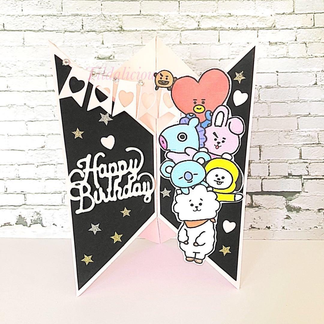 Handmade Unique Shape Stand Card For Birthday And BTS Fan