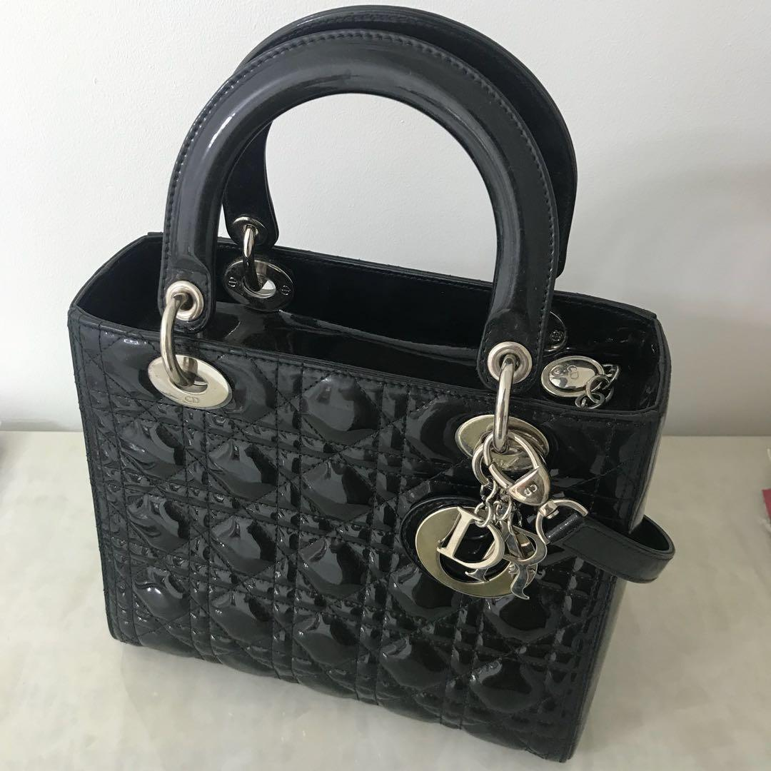 713c20ce7c LADY DIOR Black Patent Calfskin Bag (Medium), Women's Fashion, Bags ...