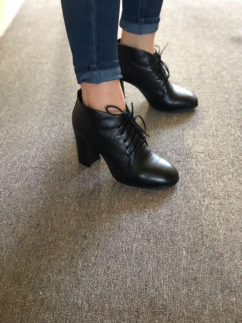 Leather High Heel Ankle Boots ~ Size 38 ~ Black~ Mint Condition