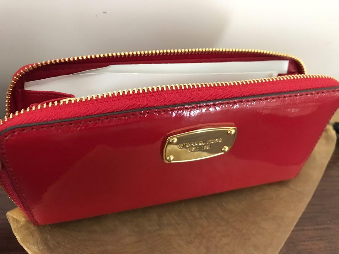 Michael Kors Brand New Zip Around Purse Red Patent Leather Gold Logo Plaque