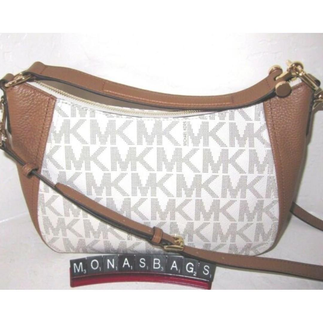 Michael Kors PVC Fulton Medium TZ Convertible Shoulder Bag in Vanilla/acorn. 60% OFF Clearance Sales original price: MYR795!