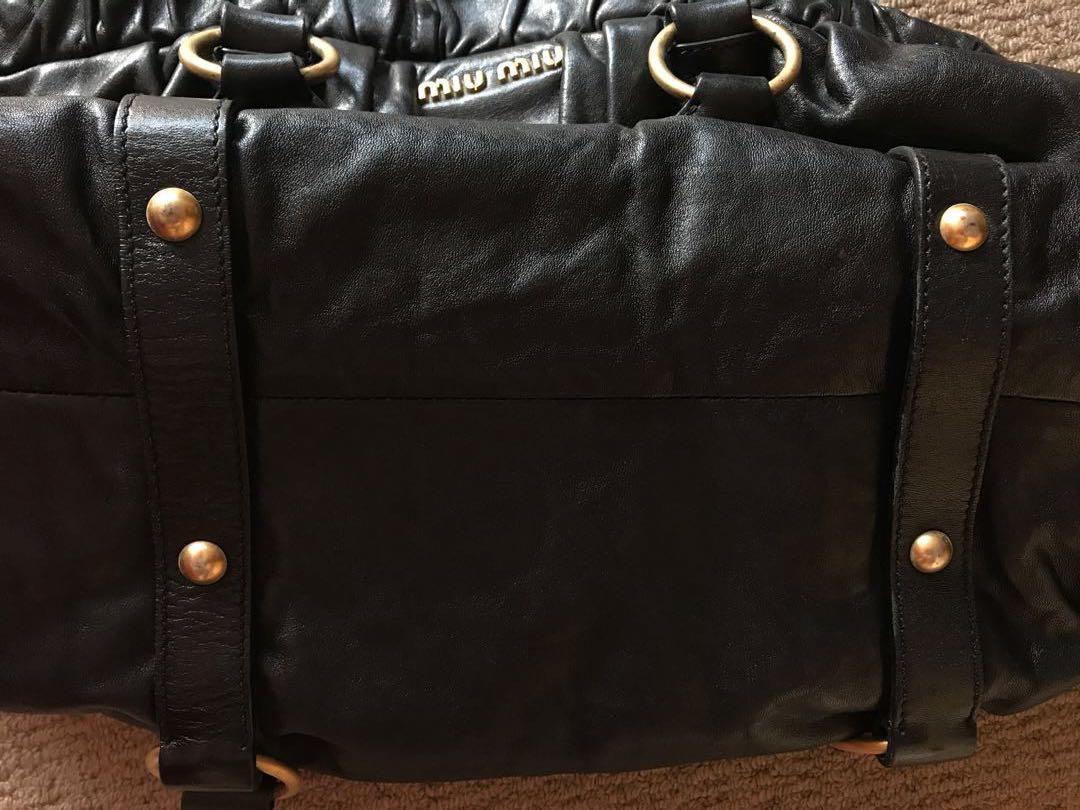 MIU MIU Leather Vitello Lux Gathered Tote Black Bag Handbag