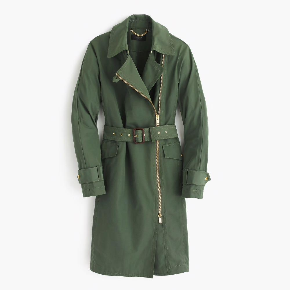 NEW/ J.Crew/ Size 6 Belted zip trench coat in water-resistant cotton