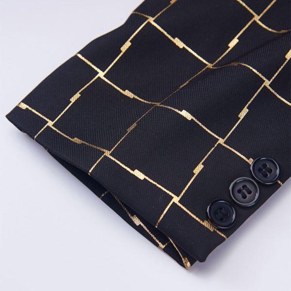 Plaid Shawl Lapel Black Gold Blazer #dressforsuccess30