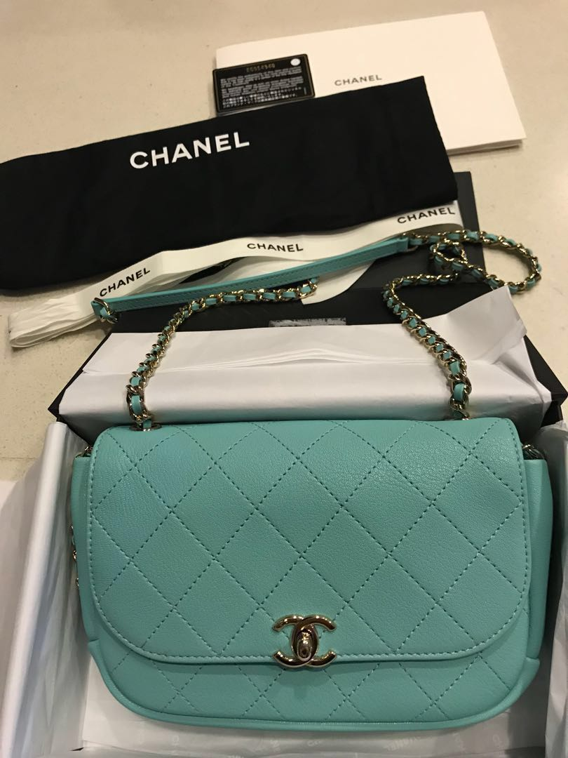 57ab83536eb2 Preloved Authentic Chanel Bag Tiffany Blue, Luxury, Bags & Wallets ...
