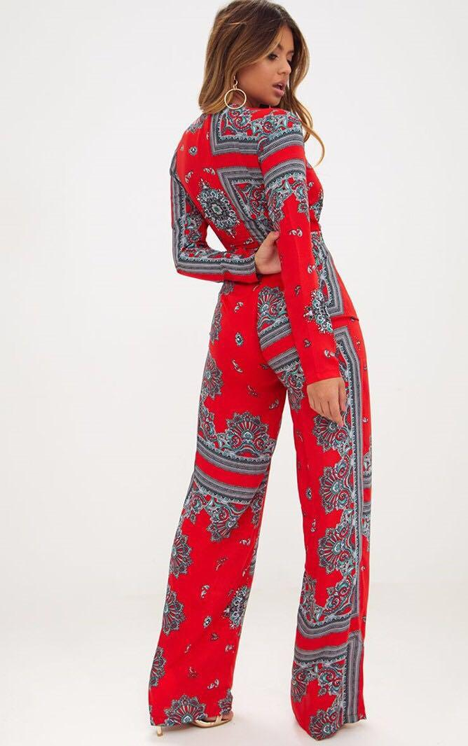 PRETTYLITTLETHING Red Scarf Long Sleeve Plunge Jumpsuit