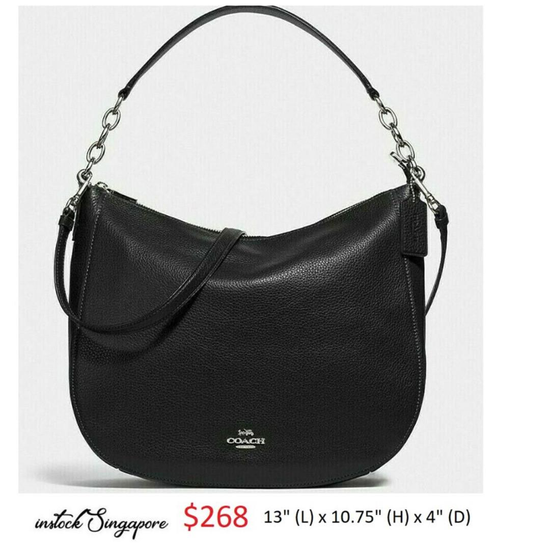 READY STOCK -AUTHENT NEW  COACH 31399 ELLE HOBO full leather crossbody strap PEBBLE LEATHER ELLE HOBO 32