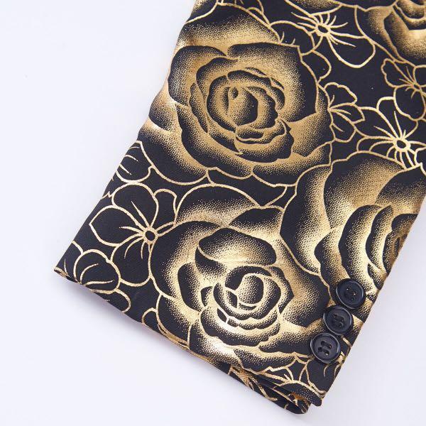 Rose Shawl Lapel Black Gold Blazer #dressforsuccess30