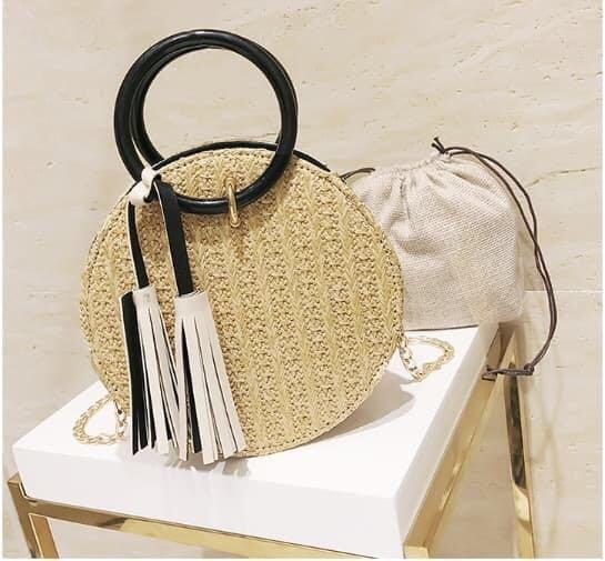 Round Rattan Sling Bag Straw Wicker Basket