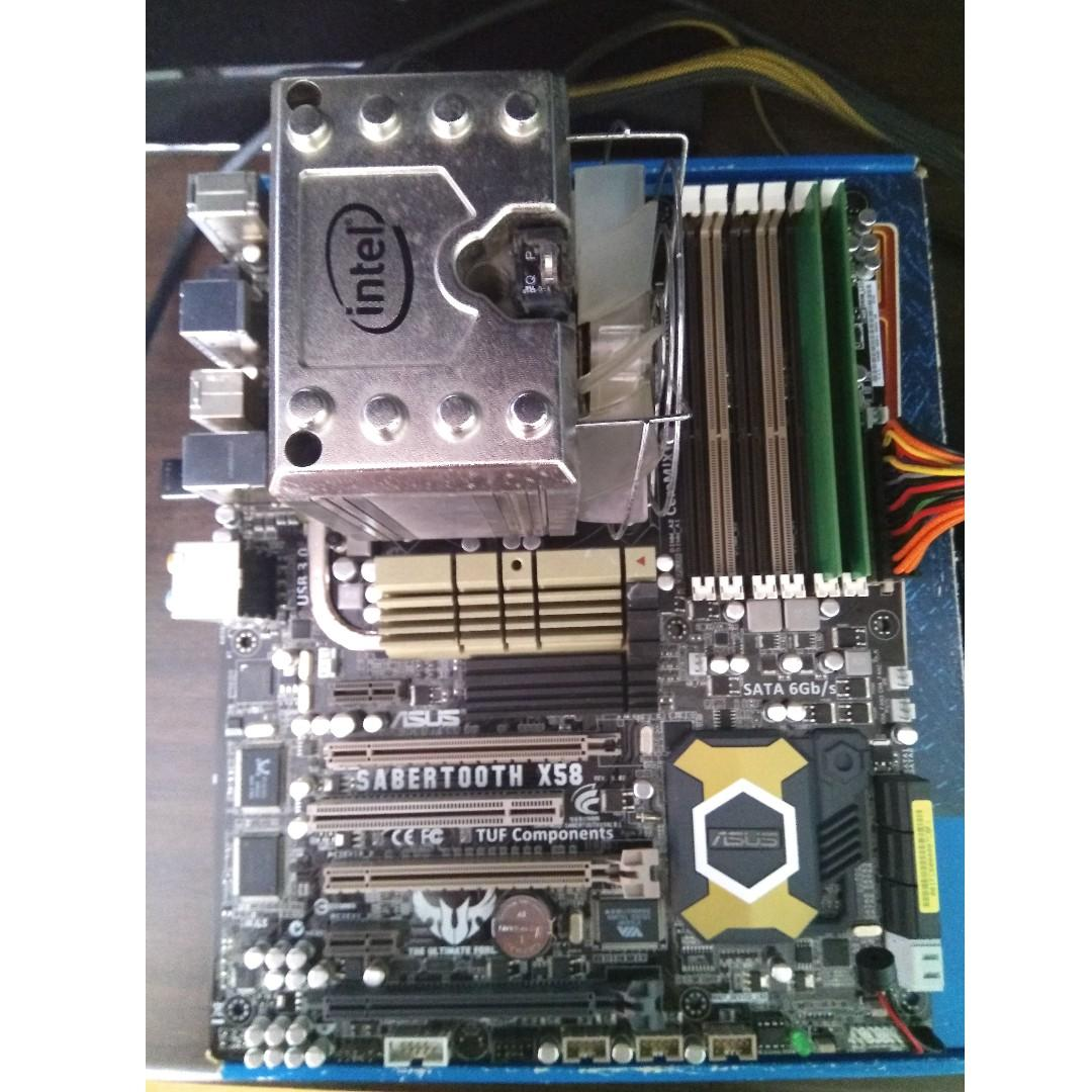 Sabertooth X58 motherboard with i7 980X CPU and Intel