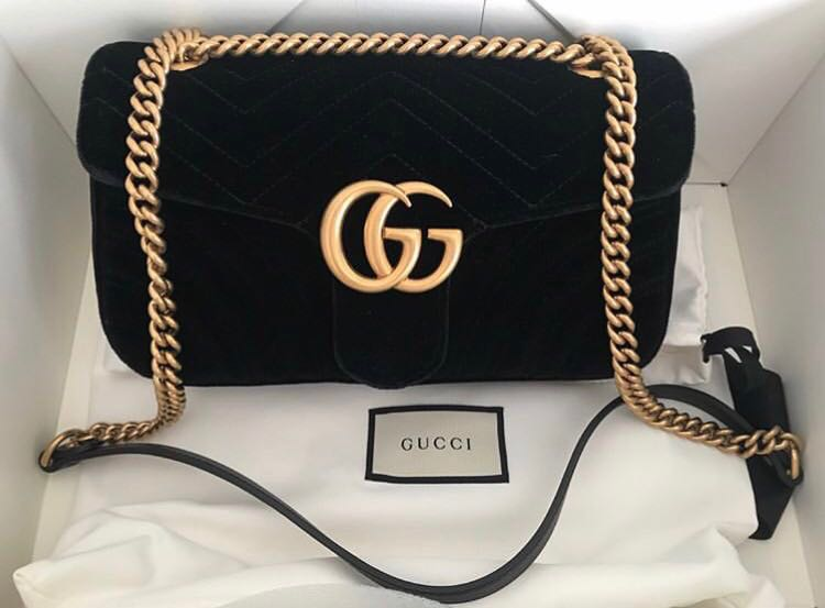 62a5ba57538d SOLD) Gucci Marmont Black Flap Velvet Small 26cm, Luxury, Bags ...