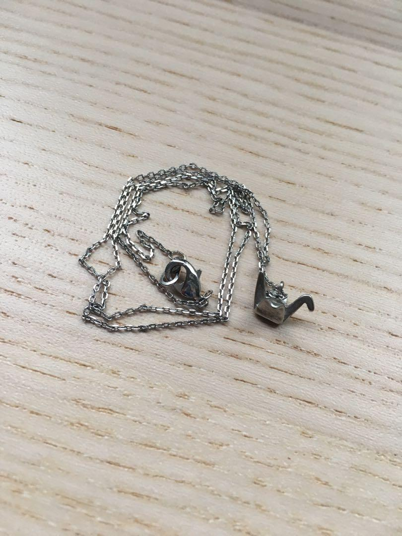 Sterling silver origami crane necklace