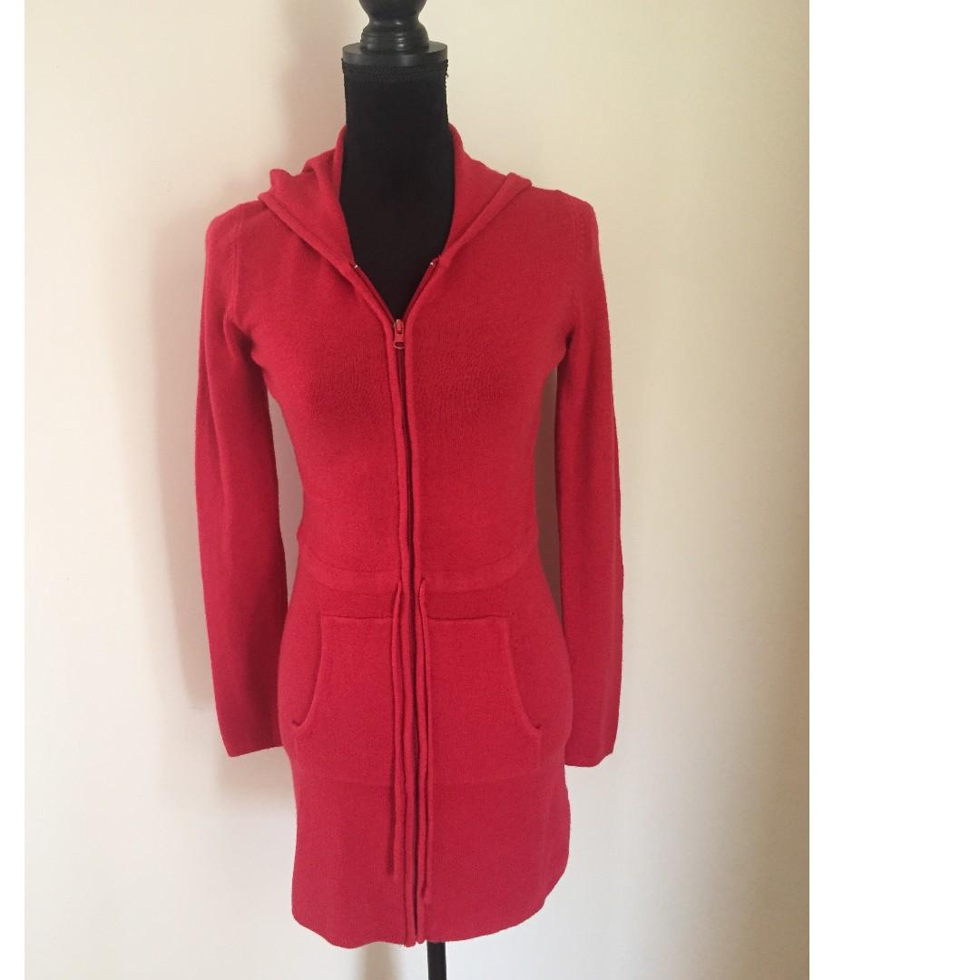 Valleygirl Red Long Hooded Jacket with Zipper | Size M