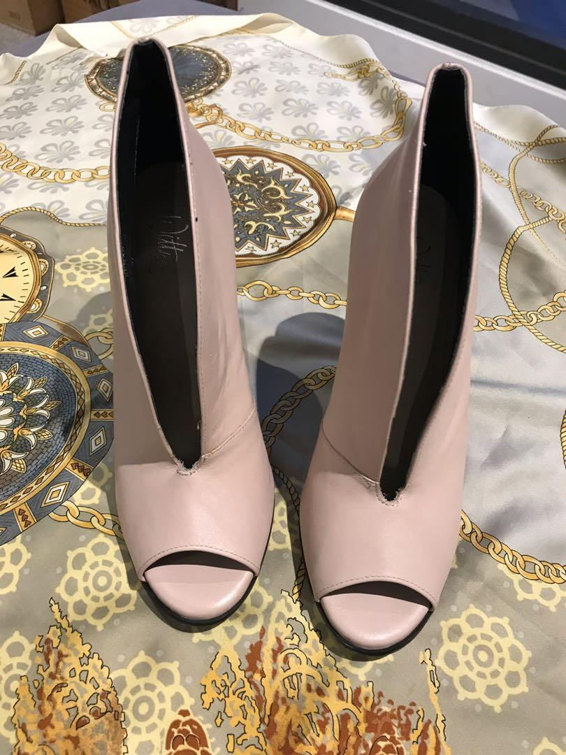 """Wittner - Pink """"Renae"""" Peep-toe Ankle Boots Size 37 with 11cm heel"""