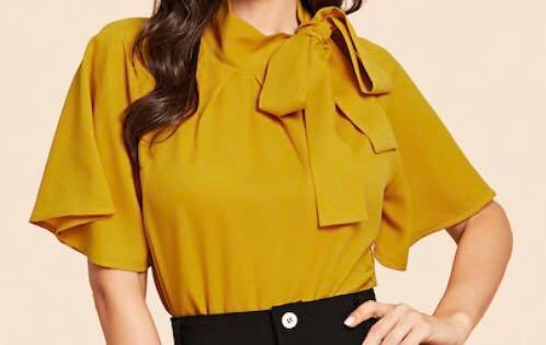 Yellow girly / office top #SwapNZ