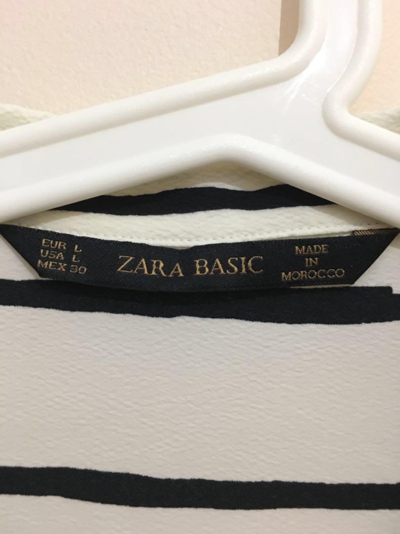 ZARA Basic Women Striped Blouse Shirt (Cream/Black)