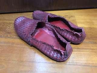 Red leather loafers US9