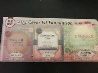 Canmake foundation with case and oil blotting paper 粉底連盒另加金箔面油紙 set