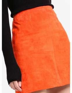River Island A-line Suede Mini Orange Skirt (Brand New w Tag) | Spring / Summer Look