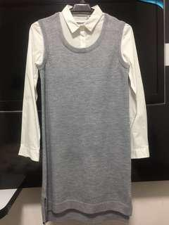 Yishion Casual - 2in1 Knitted Grey / White Shirt Dress