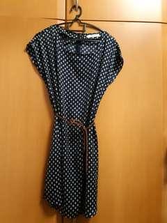 Mango blue and white dress with belt.