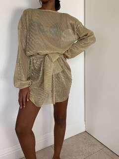 Gold dress sheer