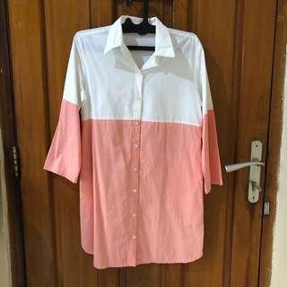 Shirt dress white pink