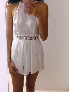 White Lace Cutout Romper