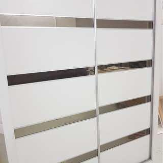 White Ash Laminate Sliding Wardrobe