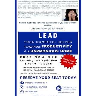 FREE SEMINAR - Lead Your Domestic Helper Towards Productivity & A Hamonious Home