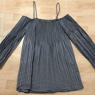 zara checkered off shoulder top