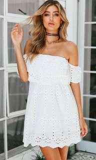 GUESS Brand New With Tags White Eyelet Dress Size M