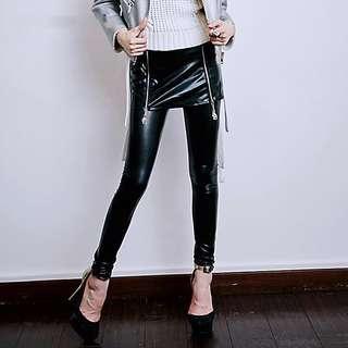 BNWT Super Fun Patented Pleather Leggings w/ Skirt Skeleton Zips Sz 2-4