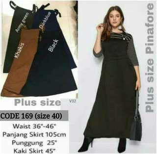 PLUS SIZE STRETCHABLE PINAFORE SKIRT