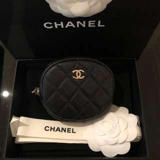 SALE‼️Brand new Chanel black caviar classic zipped round coin purse card holder with gold hardware