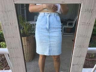 Vintage denim skirt acid wash