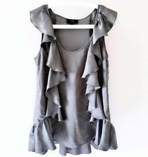 0e5e8e5649f65f BN Banana Republic Silky Ruffles Grey Blouse | Shimmer Sleeveless Ruffles  Top