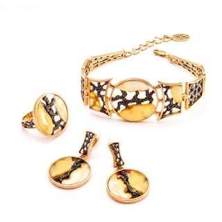 俄罗斯风格的女士珠宝/Natural Amber Set With Silver/Натуральный янтарь комплект в серебре