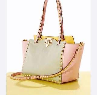 Authentic Valentino Limited Edition Calf Leather Tri-Color Pastel Rock Stud Bag