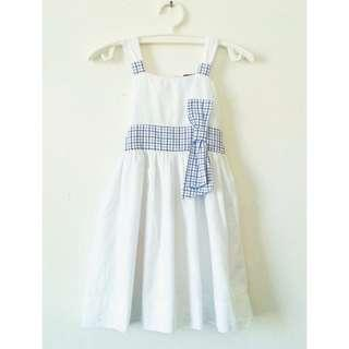 Girl's Cute Dress with Bow Plaid
