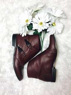 Faux Leather Buckle Side Ankle Boots