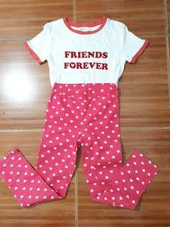 7-9 girls top and pink jeggings set