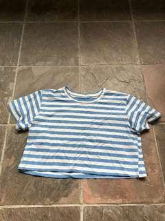 blue striped crop top