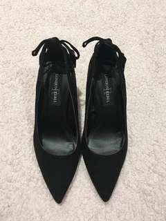 London Rebel black suede heels