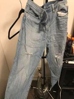 Light wash boyfriend jeans with rips size 27